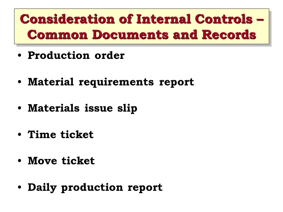 Consideration of Internal Controls – Common Documents and Records Completed production report Standard cost master file Raw materials inventory master file Work-in-progress inventory master file Finished goods inventory master file