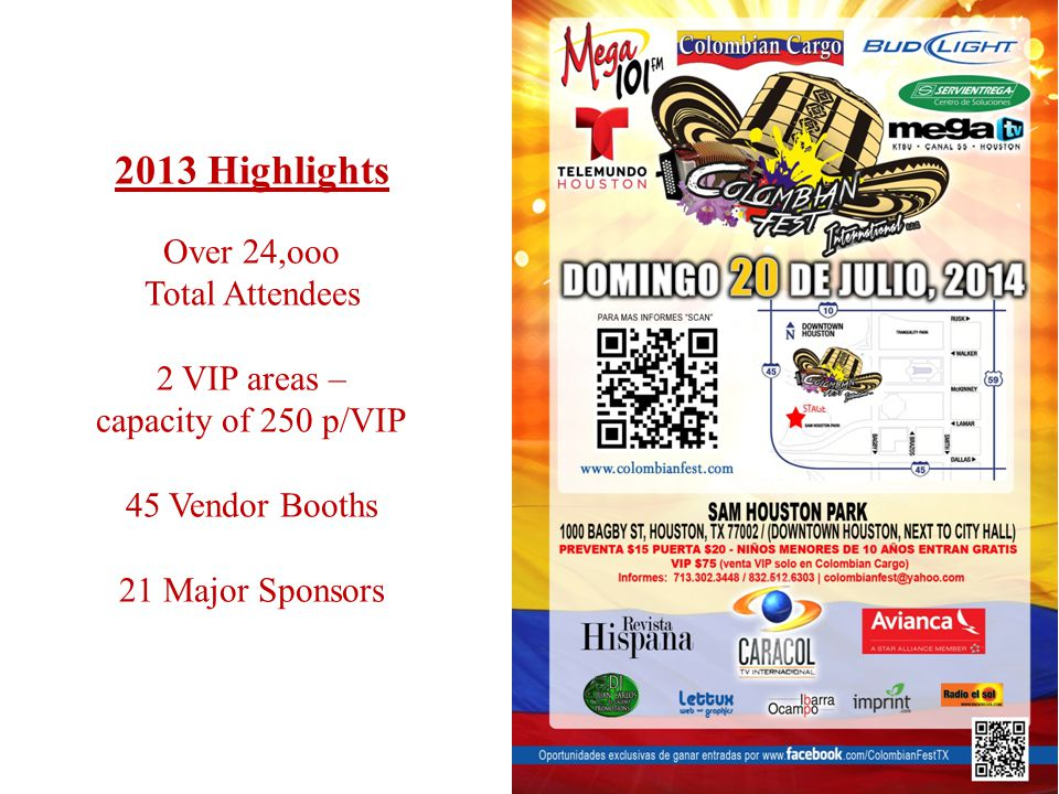 2013 Highlights Over 24,ooo Total Attendees 2 VIP areas – capacity of 250 p/VIP 45 Vendor Booths 21 Major Sponsors