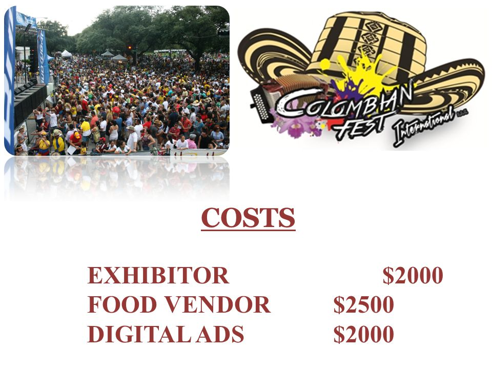 COSTS EXHIBITOR $2000 FOOD VENDOR$2500 DIGITAL ADS$2000