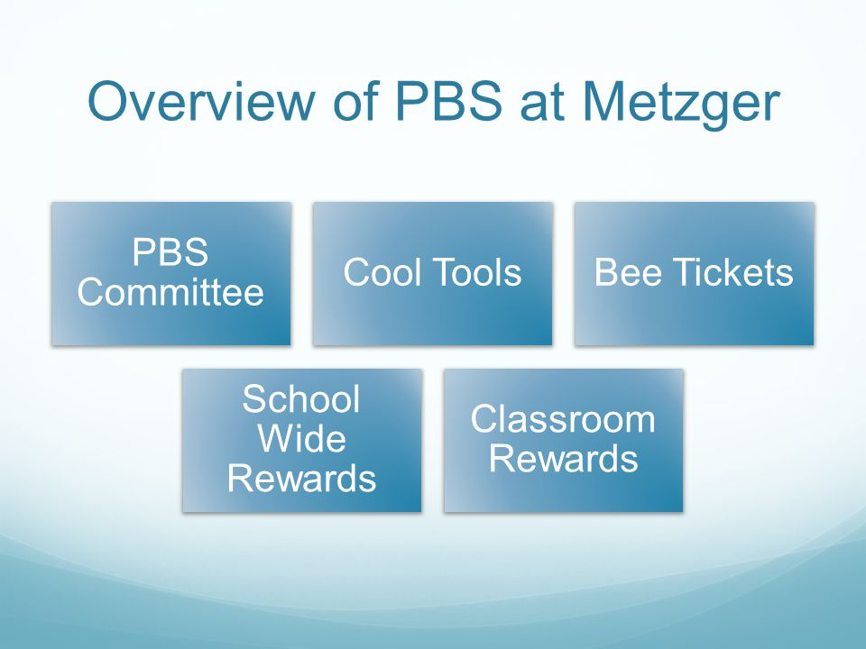 Overview of PBS at Metzger PBS Committee Cool ToolsBee Tickets School Wide Rewards Classroom Rewards