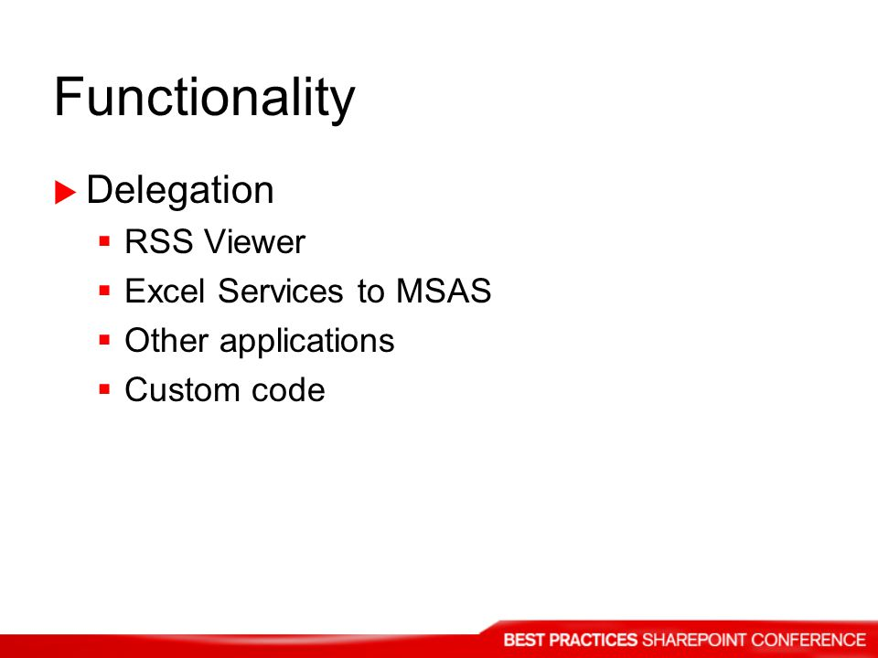Functionality Delegation RSS Viewer Excel Services to MSAS Other applications Custom code