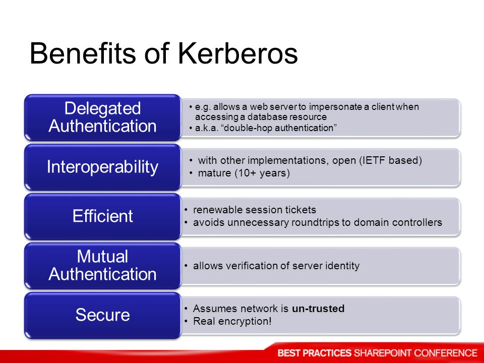 Benefits of Kerberos e.g. allows a web server to impersonate a client when accessing a database resource a.k.a. double-hop authentication Delegated Au