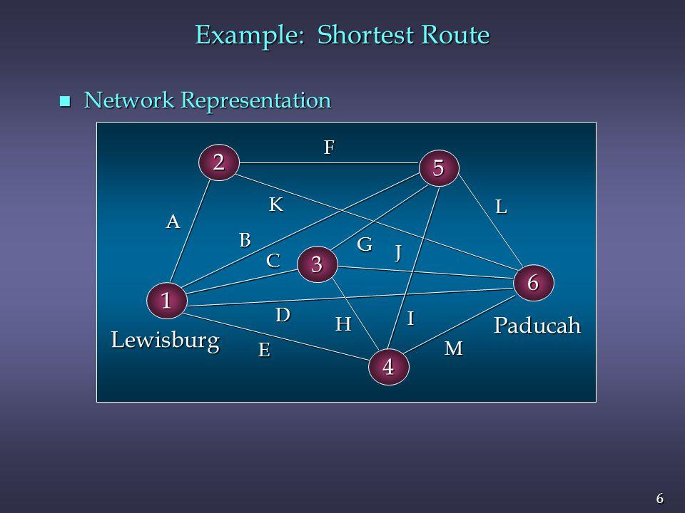 6 6 6 A B C D E F G H I J K L M Paducah Lewisburg 1 2 5 3 4 n Network Representation