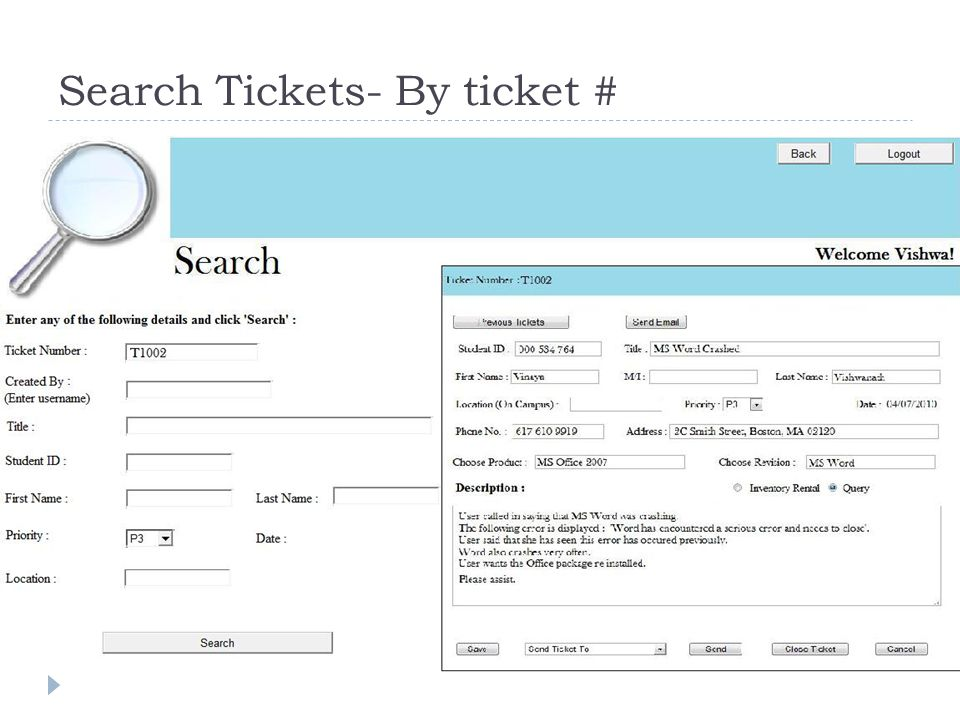 Search Tickets- By ticket #