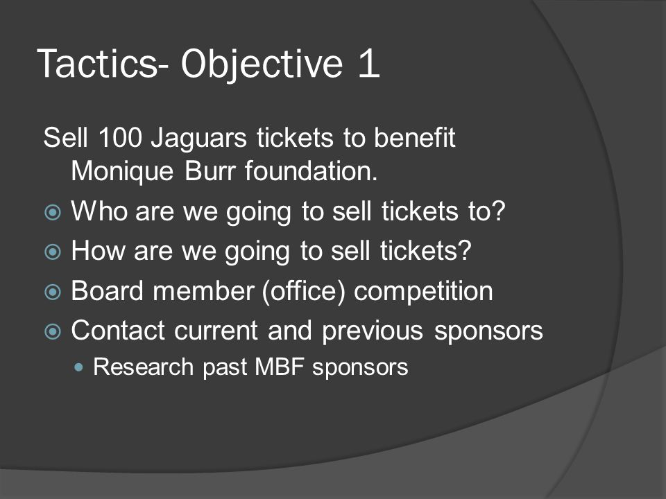 Tactics- Objective 1 Sell 100 Jaguars tickets to benefit Monique Burr foundation.