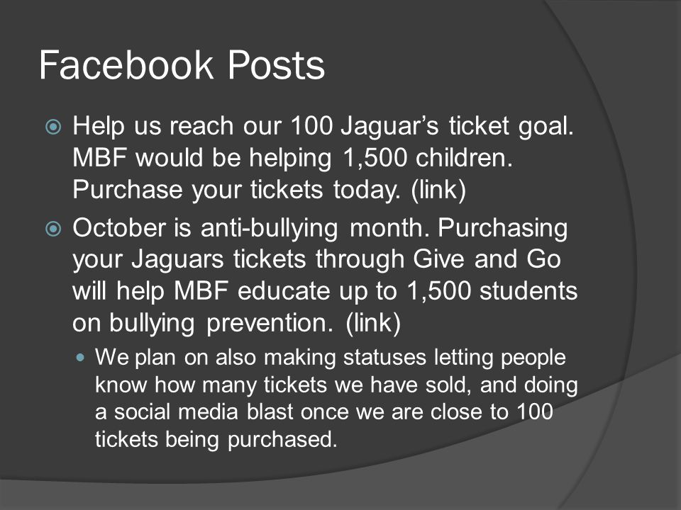 Facebook Posts Help us reach our 100 Jaguars ticket goal.