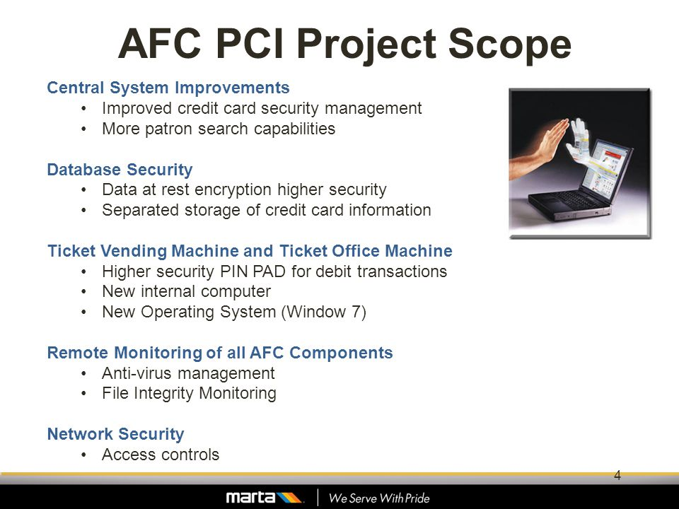 AFC PCI Project Scope Central System Improvements Improved credit card security management More patron search capabilities Database Security Data at r
