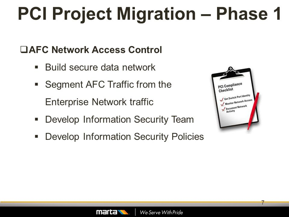 PCI Project Migration – Phase 1 AFC Network Access Control Build secure data network Segment AFC Traffic from the Enterprise Network traffic Develop I
