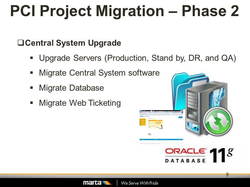 PCI Project Migration – Phase 2 Central System Upgrade Upgrade Servers (Production, Stand by, DR, and QA) Migrate Central System software Migrate Data