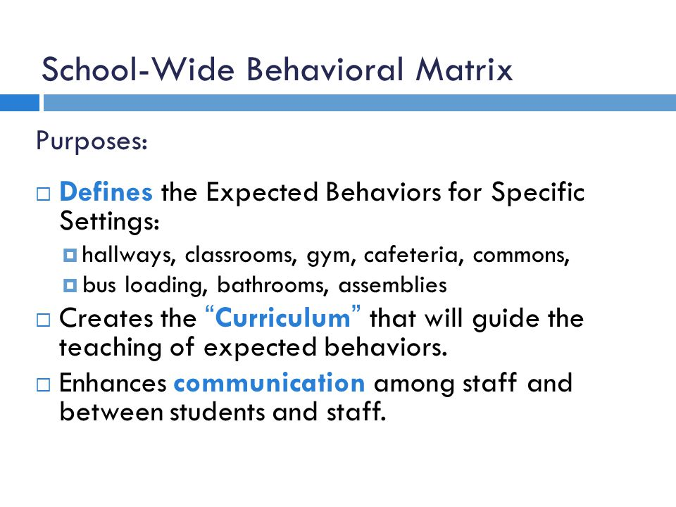 School-Wide Behavioral Matrix Purposes: Defines the Expected Behaviors for Specific Settings: hallways, classrooms, gym, cafeteria, commons, bus loading, bathrooms, assemblies Creates the Curriculum that will guide the teaching of expected behaviors.