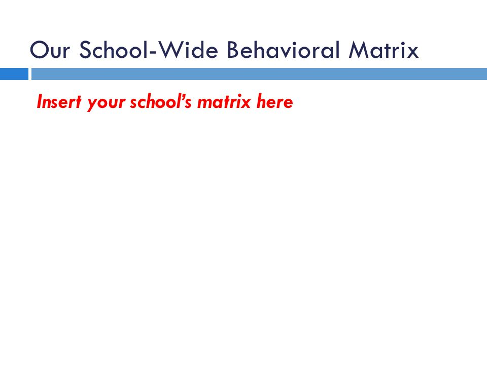Our School-Wide Behavioral Matrix Insert your schools matrix here