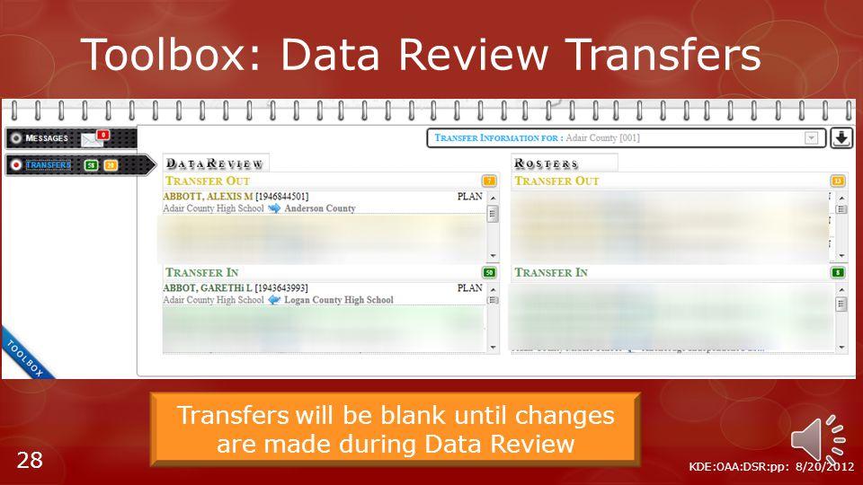 Toolbox: Messaging KDE:OAA:DSR:pp: 8/20/2012 27