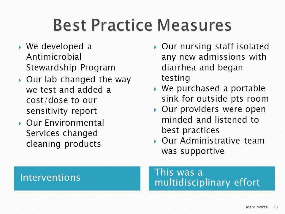 Interventions This was a multidisciplinary effort We developed a Antimicrobial Stewardship Program Our lab changed the way we test and added a cost/dose to our sensitivity report Our Environmental Services changed cleaning products Our nursing staff isolated any new admissions with diarrhea and began testing We purchased a portable sink for outside pts room Our providers were open minded and listened to best practices Our Administrative team was supportive Mary Morse23