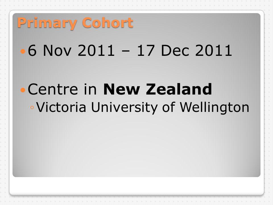 Primary Cohort 6 Nov 2011 – 17 Dec 2011 Centre in New Zealand Victoria University of Wellington