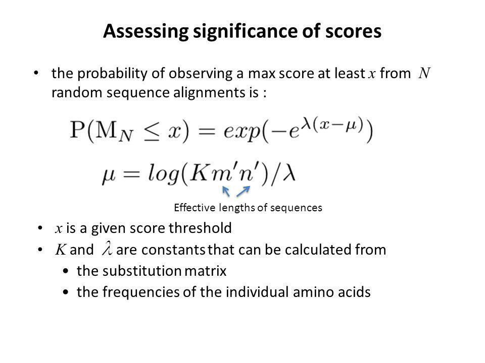 x is a given score threshold K and are constants that can be calculated from the substitution matrix the frequencies of the individual amino acids Assessing significance of scores the probability of observing a max score at least x from N random sequence alignments is : Effective lengths of sequences