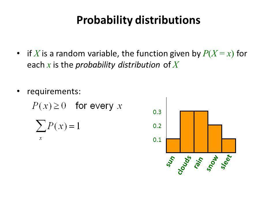 Probability distributions if X is a random variable, the function given by P(X = x) for each x is the probability distribution of X requirements: sun clouds rain snow sleet 0.2 0.3 0.1