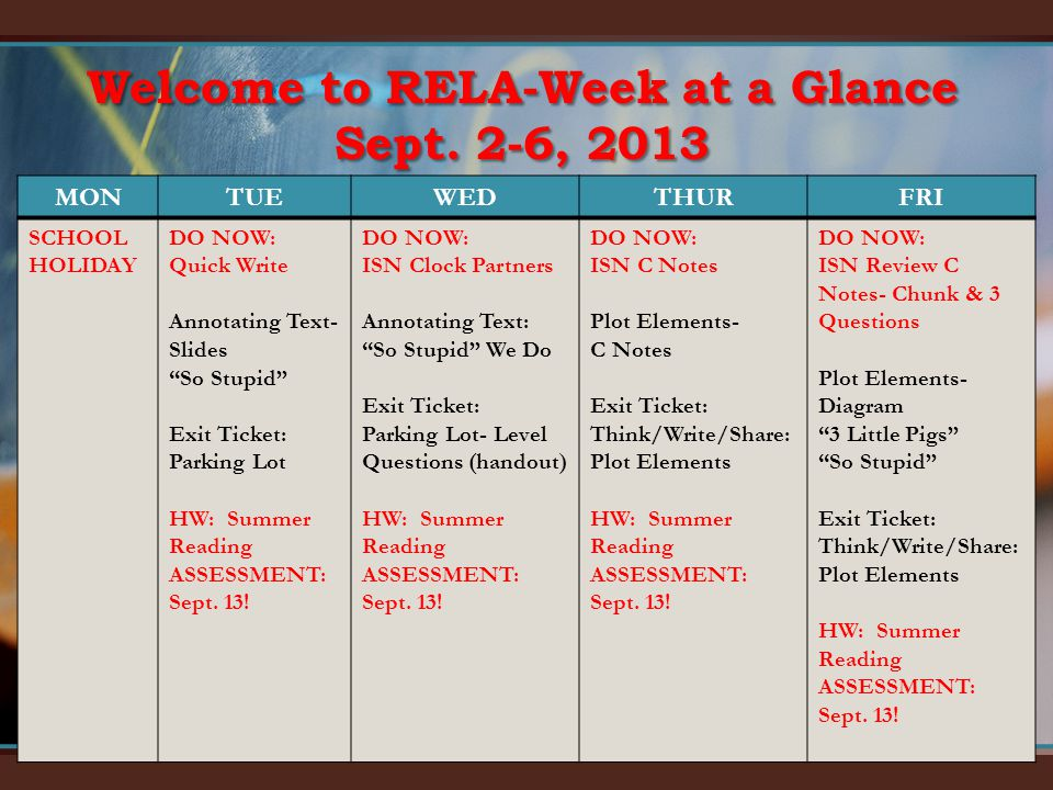 Welcome to RELA-Week at a Glance Sept.