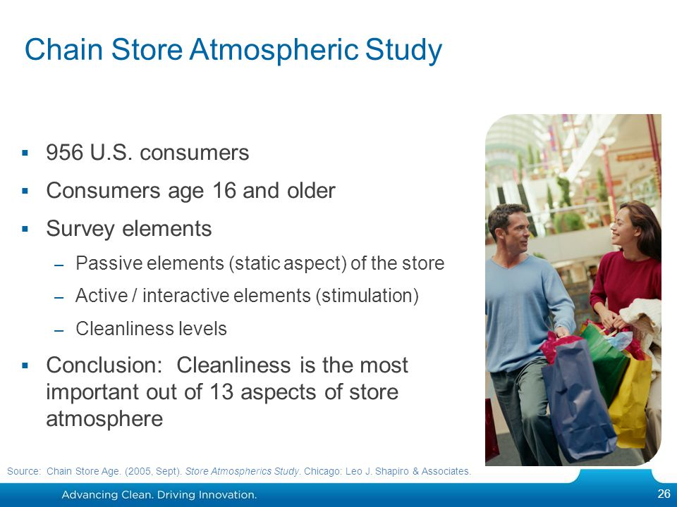 956 U.S. consumers Consumers age 16 and older Survey elements – Passive elements (static aspect) of the store – Active / interactive elements (stimula