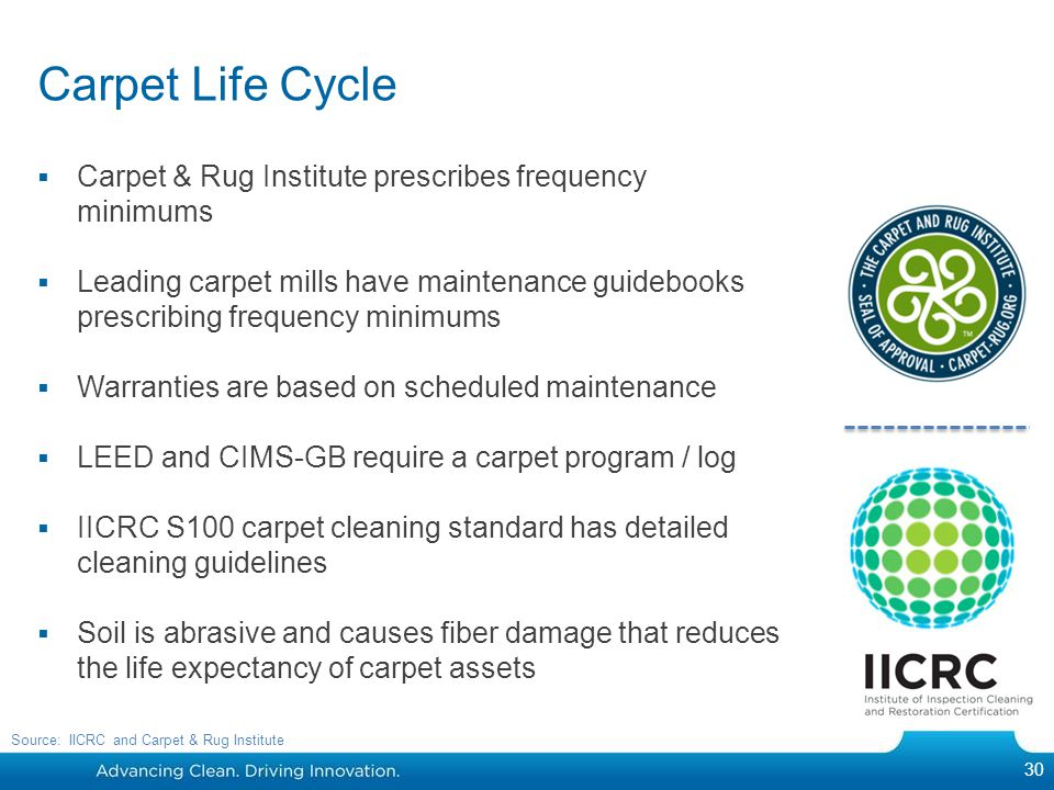 Carpet Life Cycle Carpet & Rug Institute prescribes frequency minimums Leading carpet mills have maintenance guidebooks prescribing frequency minimums