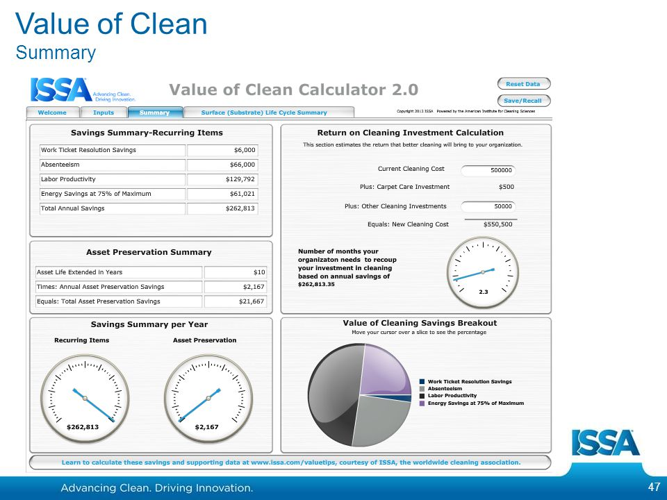 47 Value of Clean Summary