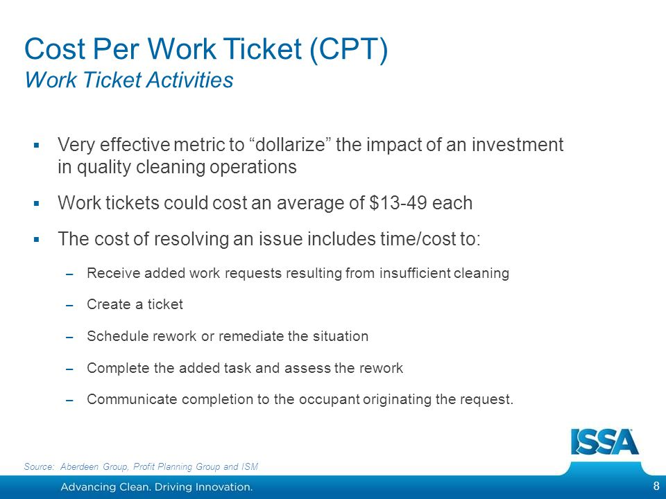 Cost Per Work Ticket (CPT) Work Ticket Activities Very effective metric to dollarize the impact of an investment in quality cleaning operations Work t