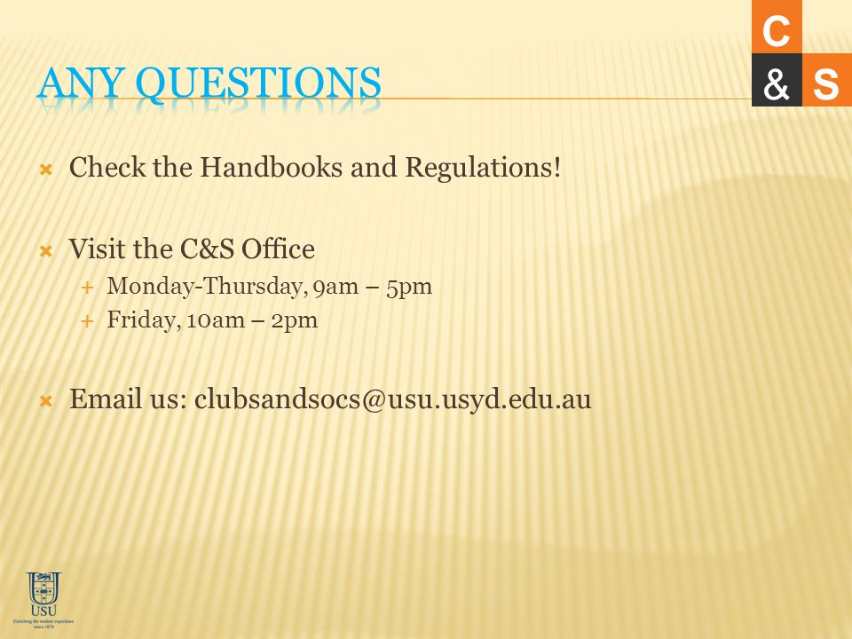 Check the Handbooks and Regulations.