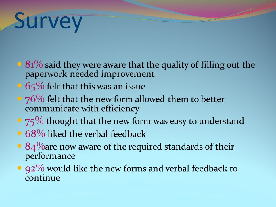 Survey 81% said they were aware that the quality of filling out the paperwork needed improvement 65% felt that this was an issue 76% felt that the new form allowed them to better communicate with efficiency 75% thought that the new form was easy to understand 68% liked the verbal feedback 84% are now aware of the required standards of their performance 92% would like the new forms and verbal feedback to continue