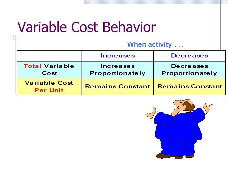 Variable Cost Behavior When activity...