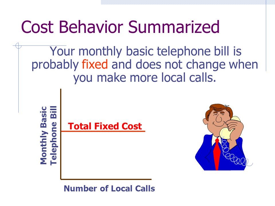 Cost Behavior Summarized Your monthly basic telephone bill is probably fixed and does not change when you make more local calls. Number of Local Calls
