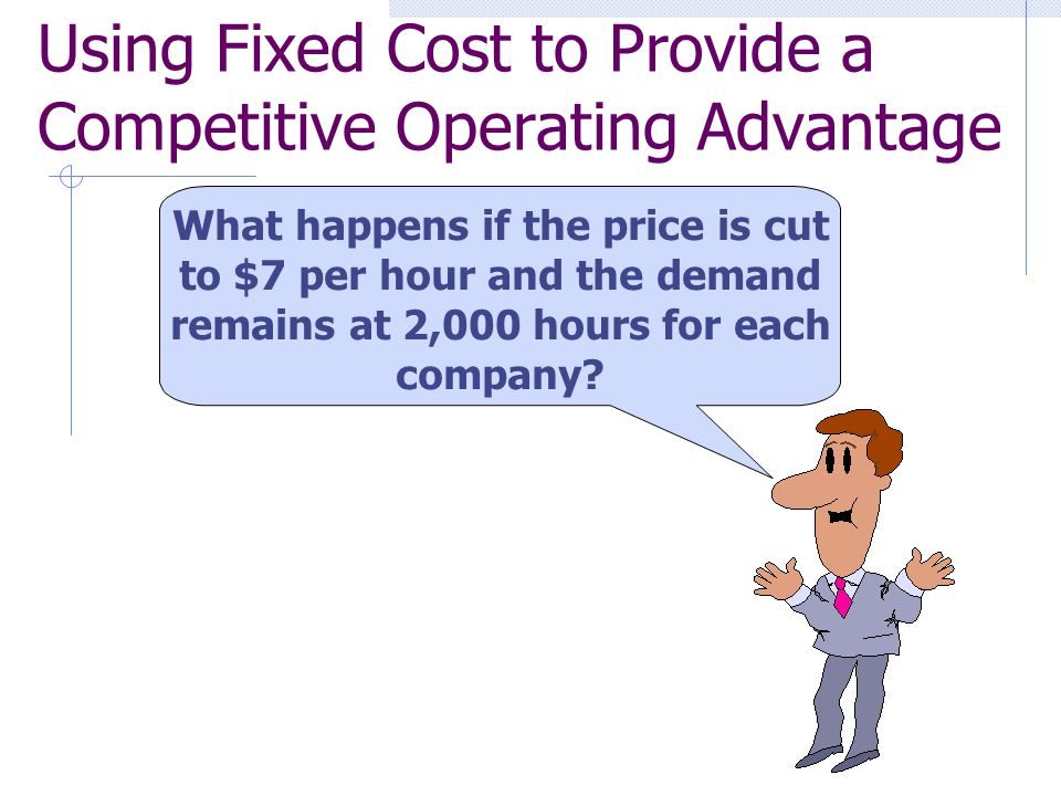 What happens if the price is cut to $7 per hour and the demand remains at 2,000 hours for each company? Using Fixed Cost to Provide a Competitive Oper