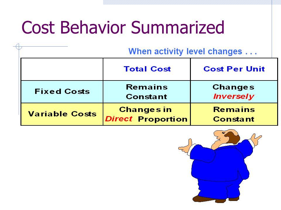 Cost Behavior Summarized When activity level changes...