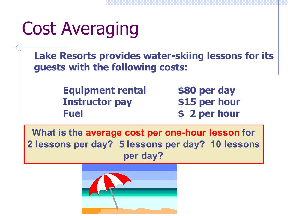 Lake Resorts provides water-skiing lessons for its guests with the following costs: Equipment rental$80 per day Instructor pay$15 per hour Fuel$ 2 per