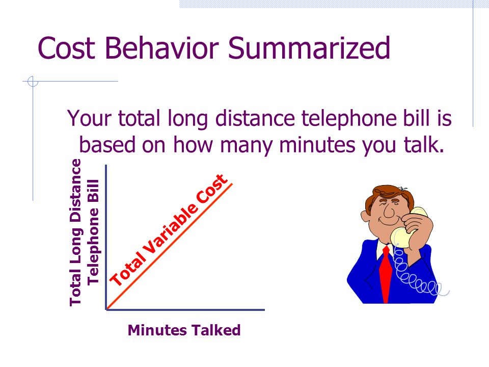 Your total long distance telephone bill is based on how many minutes you talk. Minutes Talked Total Long Distance Telephone Bill Cost Behavior Summari