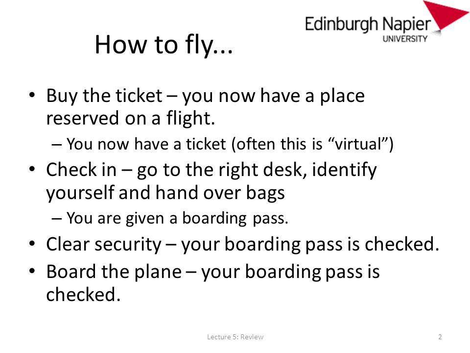 How to fly... Buy the ticket – you now have a place reserved on a flight.