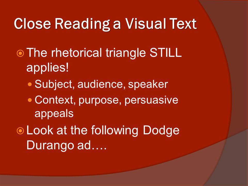 Close Reading a Visual Text The rhetorical triangle STILL applies.