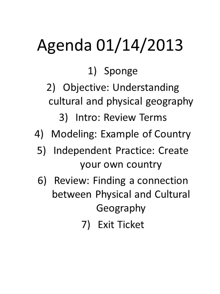 TermDefinition Culture Natural Features Cultural Geography Physical Geography Unit One Dictionary