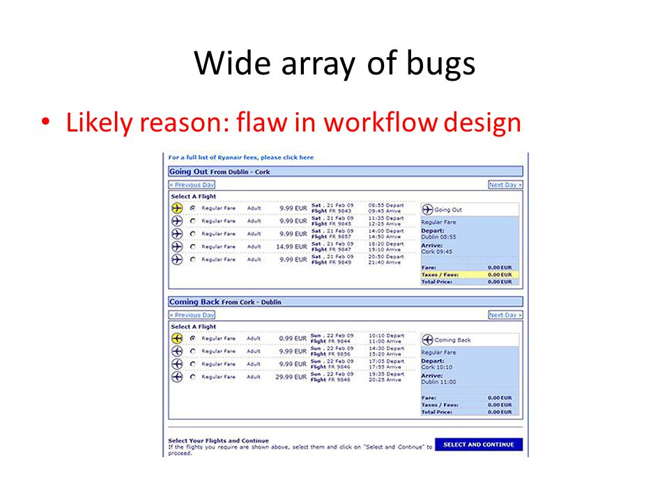 Wide array of bugs Likely reason: flaw in workflow design