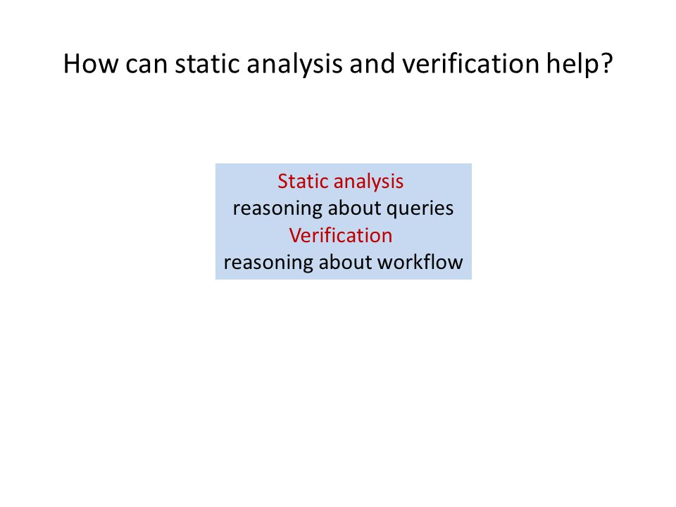How can static analysis and verification help.