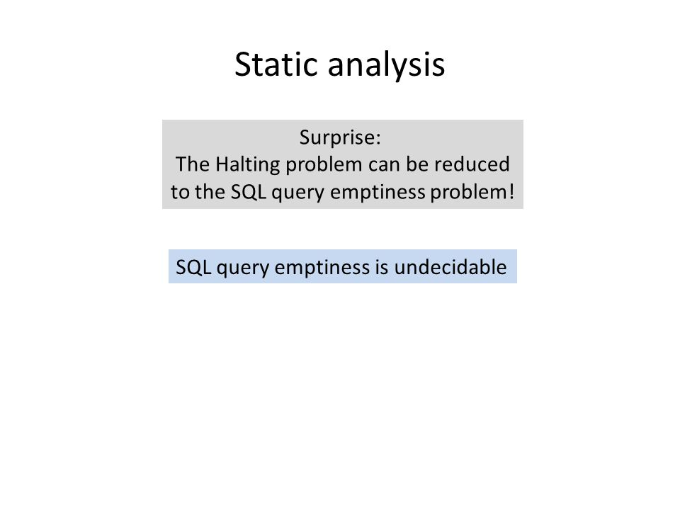 Static analysis Surprise: The Halting problem can be reduced to the SQL query emptiness problem.