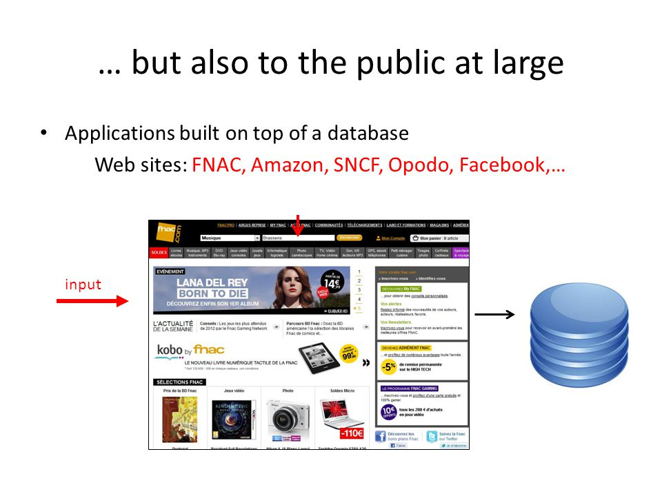 Applications built on top of a database Web sites: FNAC, Amazon, SNCF, Opodo, Facebook,… input … but also to the public at large