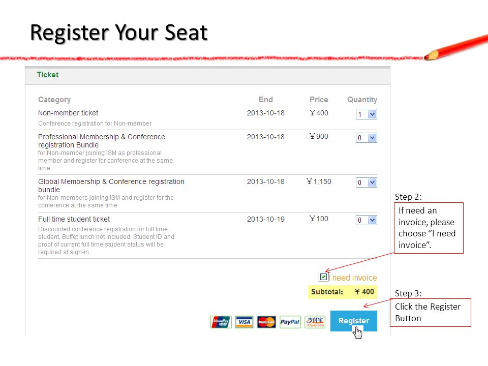 Register Your Seat If need an invoice, please choose I need invoice. Step 2: Click the Register Button Step 3: