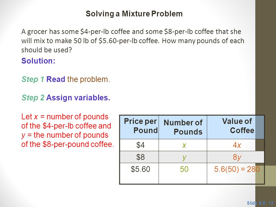 A grocer has some $4-per-lb coffee and some $8-per-lb coffee that she will mix to make 50 lb of $5.60-per-lb coffee.