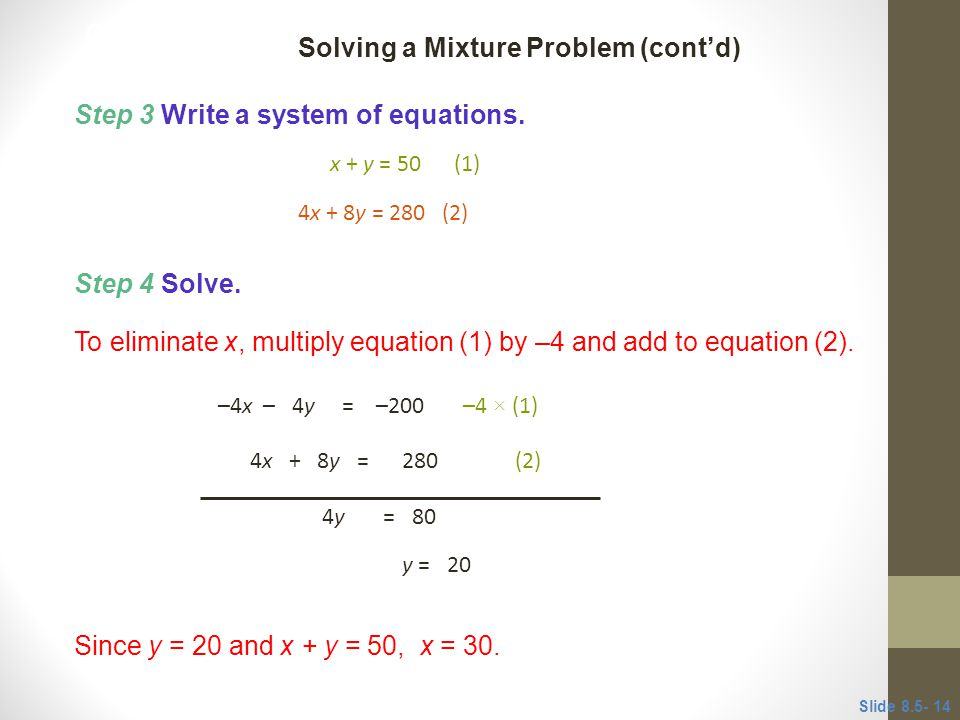 Step 4 Solve.To eliminate x, multiply equation (1) by –4 and add to equation (2).