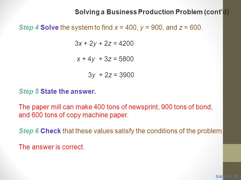Step 4 Solve the system to find x = 400, y = 900, and z = 600.