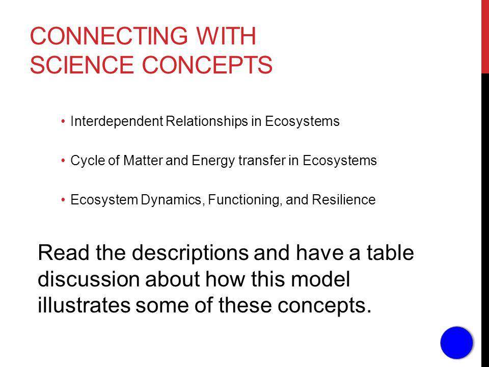 CONNECTING WITH SCIENCE CONCEPTS Interdependent Relationships in Ecosystems Cycle of Matter and Energy transfer in Ecosystems Ecosystem Dynamics, Functioning, and Resilience Read the descriptions and have a table discussion about how this model illustrates some of these concepts.