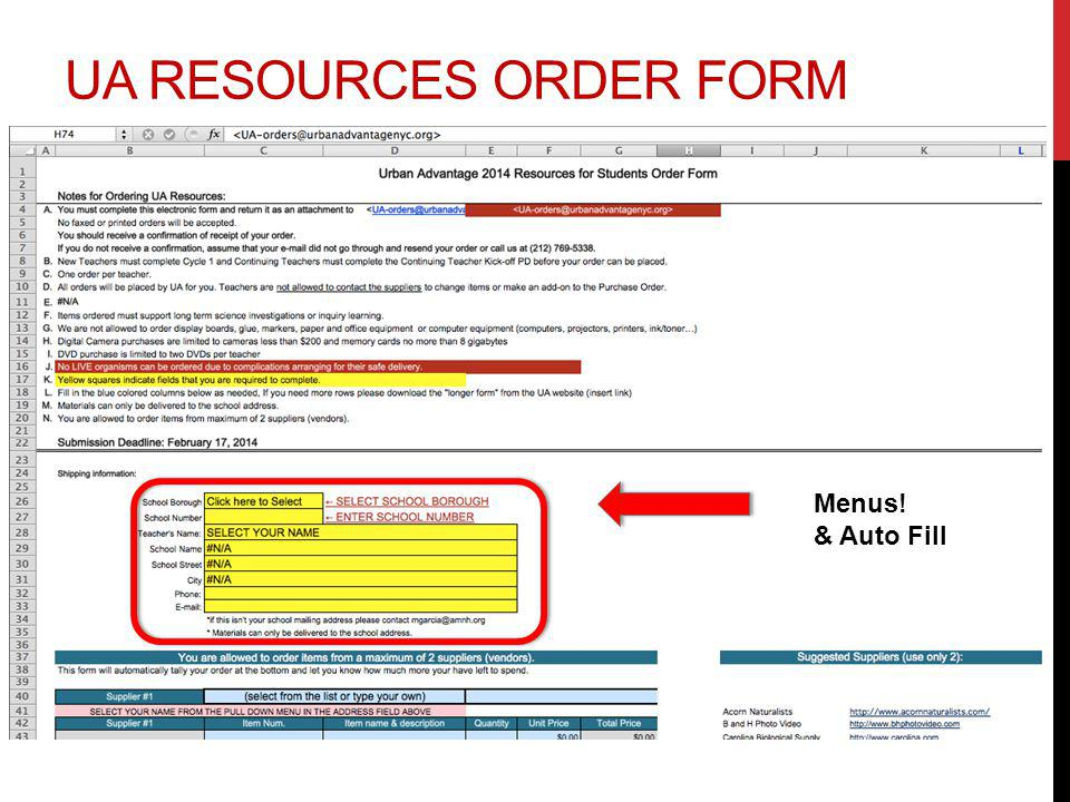 UA RESOURCES ORDER FORM Menus! & Auto Fill
