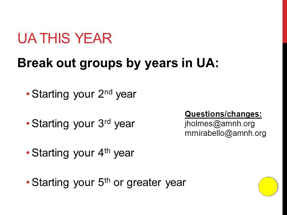 UA THIS YEAR Break out groups by years in UA: Starting your 2 nd year Starting your 3 rd year Starting your 4 th year Starting your 5 th or greater year Questions/changes: