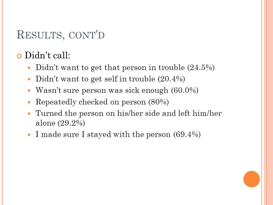 R ESULTS, CONT D Didnt call: Didnt want to get that person in trouble (24.5%) Didnt want to get self in trouble (20.4%) Wasnt sure person was sick eno
