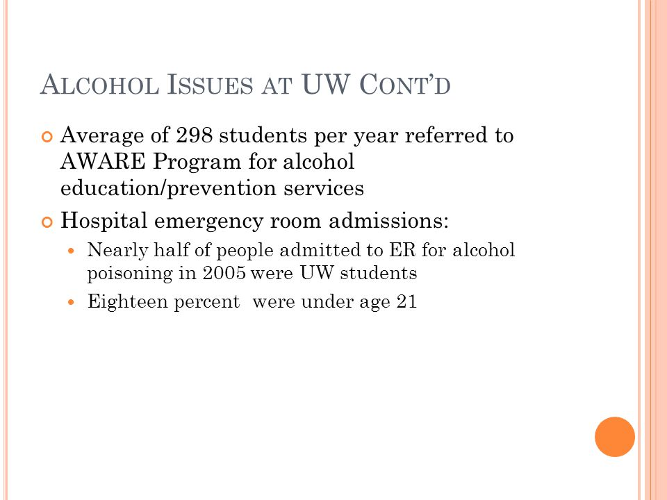 A LCOHOL I SSUES AT UW C ONT D Average of 298 students per year referred to AWARE Program for alcohol education/prevention services Hospital emergency