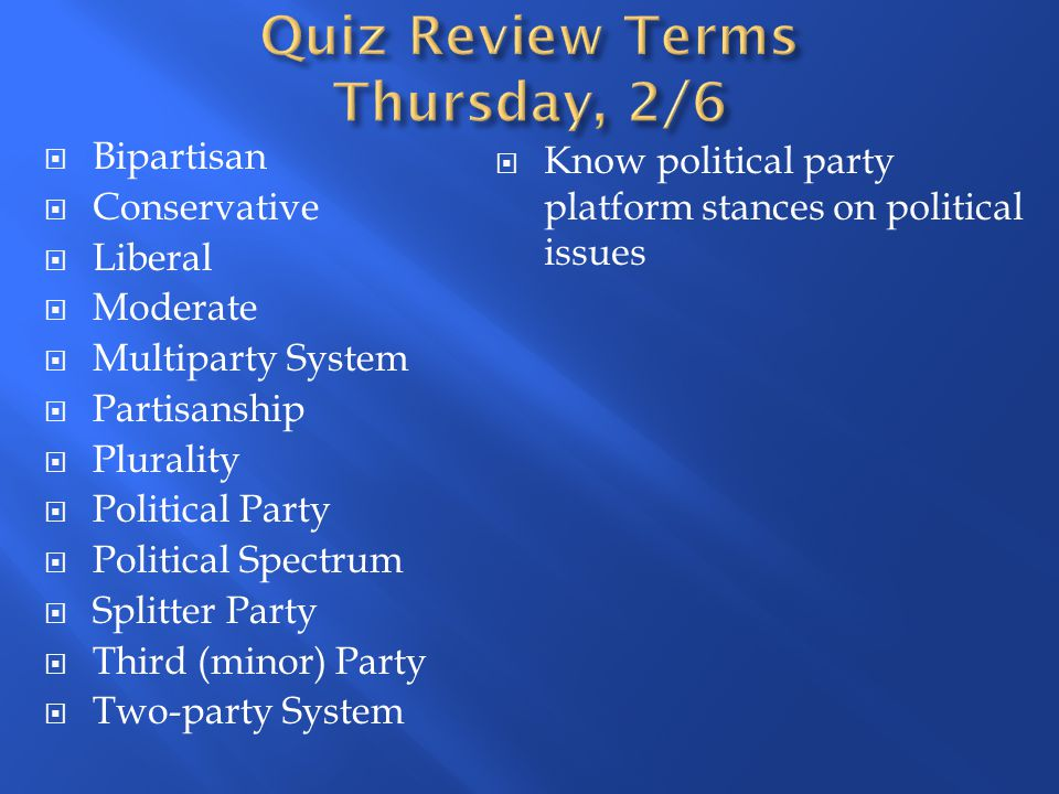 Bipartisan Conservative Liberal Moderate Multiparty System Partisanship Plurality Political Party Political Spectrum Splitter Party Third (minor) Part